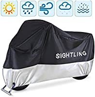 """Motorcycle Cover, SIGHTLING All Season 210D Waterproof Motorbike Covers with Lock Holes, Fits up to 96.5"""" Motors, for..."""