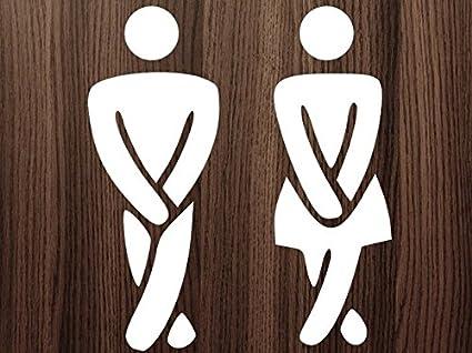 Hombres y Mujeres Funny Toilet Entrance Sign Vinilo Adhesivo ...