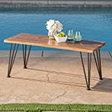 Zephyra Outdoor Rustic Finshed Iron & Acacia Wood Coffee Table