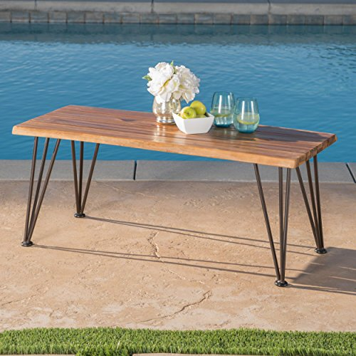 Zephyra Outdoor Rustic Finshed Iron & Acacia Wood Coffee Table by GDF Studio