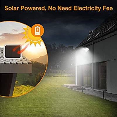 LEPOWER Solar LED Security Lights Motion Outdoor, 1000LM Super Bright Solar Motion Sensor Light, 6000K, IP65 Waterproof Flood Light with 2 Head for Garage, Yard, Patio (White)