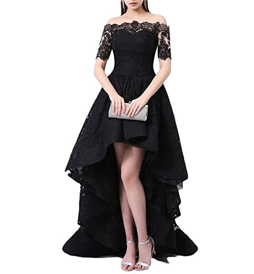 Womens Hi-Lo Off Shoulder Homecoming Dress Plus Size Lace Appliques Prom Formal Gown 547