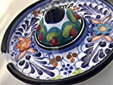Talavera Ceramic Sombrero Ashtray 4 1/2'' Modern Art Design Authentic Puebla Mexico Pottery Hand Painted Design Vivid Colorful Art Decor Signed [Orange Flowers]