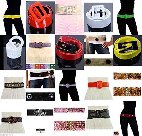 (NEW Wholesale Lot 50 Fashion Belts Belt Mix Canvas Studded Buckle Leather S M L)