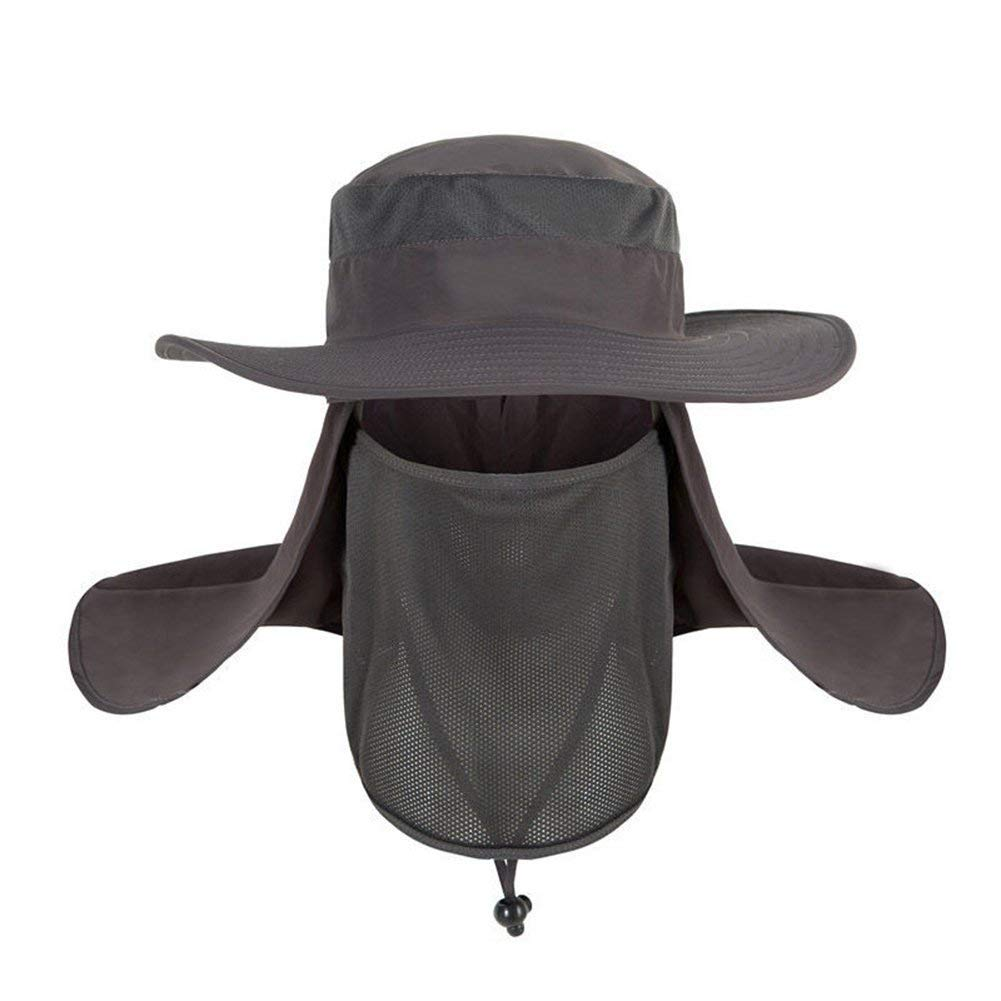 TrifyCore Verano Deportes al Aire /última intervensi/ón protecci/ón Solar Pesca Senderismo Sombrero Cuello Una Talla Gris Oscuro Cara ala Ancha Gorra