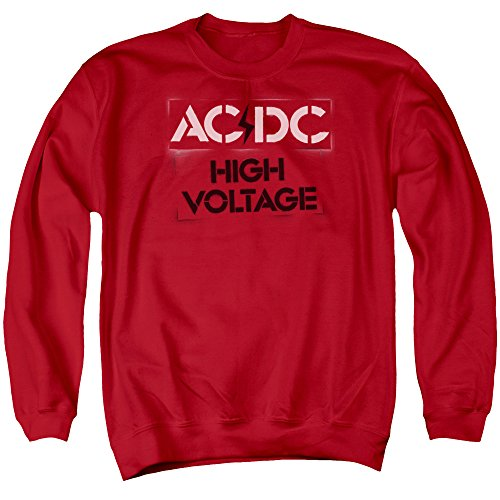 ACDC - High Voltage Stencil - Adult Crewneck Sweatshirt - Large