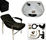 LCL Beauty Shampoo Package with Comfort-Curve Sling Back Shampoo Chair & Heart Shaped White Ceramic Shampoo Bowl – FREE 6 Black Absorbent Salon Quality Towels