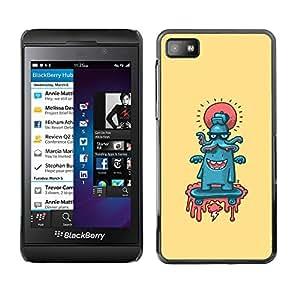 CASECO - Blackberry Z10 - Octopus Abstract - Delgado Negro Plástico caso cubierta Shell Armor Funda Case Cover - Pulpo abstracto