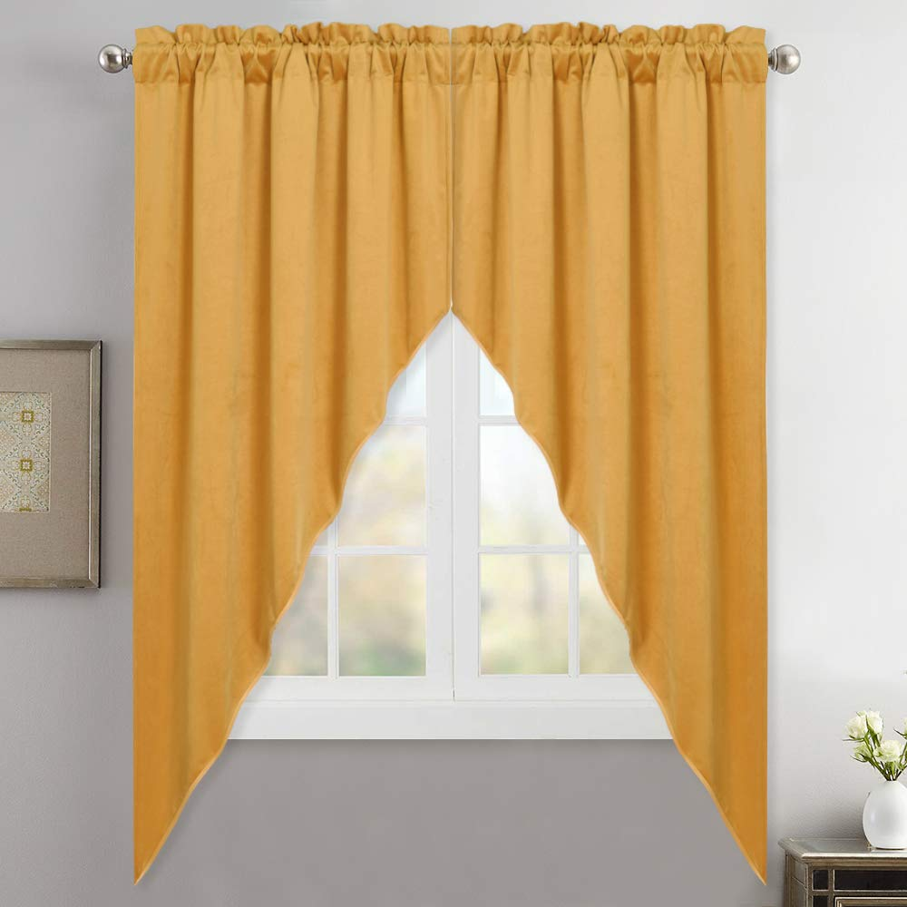"""Swag Valance Curtains for Livingroom - Stylish Home Decor Thermal Tier Curtain Room Darkening Velvet Drapes with Rod Pocket for Dining Room/Hotel Hall/Bedroom, Orange Gold, 35"""" x 63"""", 2 Pieces"""