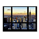 Trademark Fine Art Window View NYC Sunset 2 by Philippe Hugonnard Wall Decor, 35 x 47'' Canvas Wall Art
