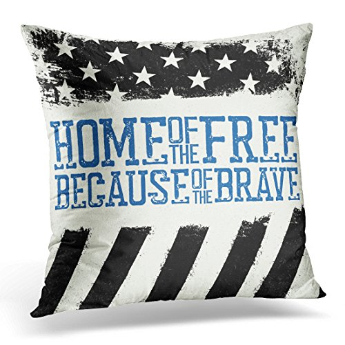Police Throw - Breezat Throw Pillow Cover Enforcement Thin Blue Line Flag American with of the Free Because Brave Grunge Police Decorative Pillow Case Home Decor Square 18x18 Inches Pillowcase
