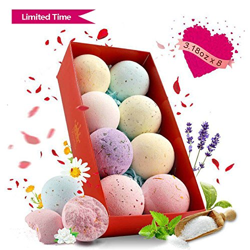 Kingwell 8 Bath Bombs Gift Set Best Family Spa Idea with Natural Esssential Oils Dried Flower Petals