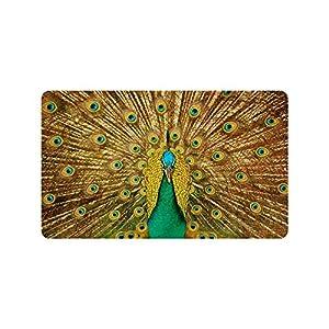 Beautiful Peacock Feather Pattern Custom Doormat Entrance Mat Floor Mat Rug Indoor/Outdoor/Front Door/Bathroom Mats Rubber Non Slip Size 30 x 18 inches