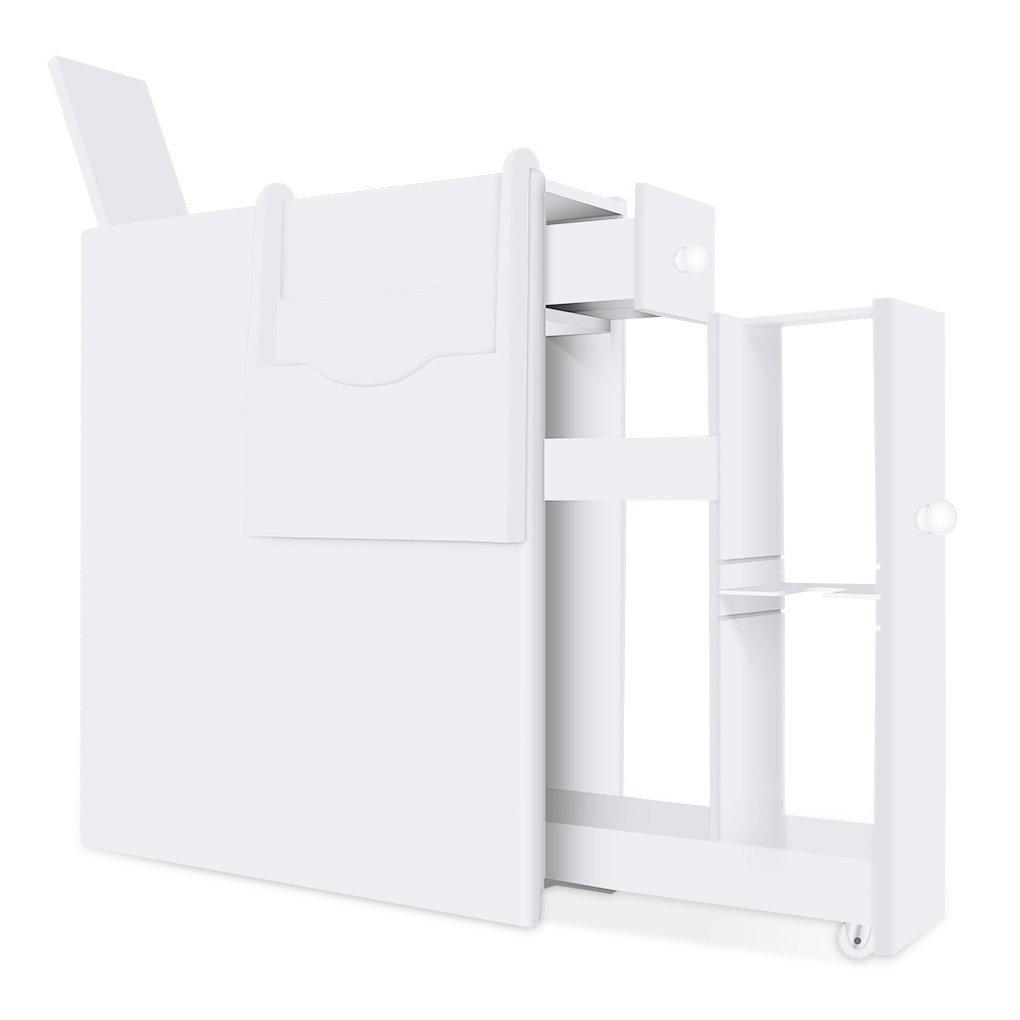 Bathroom Floor Storage Cabinet Slim Bathroom Cabinet Storage Wooden Toilet Paper Storage Cabinet Tight Space Bathroom Organizer Drawer Pure White