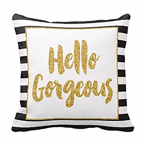 Bed Stripe Gold - DETALLAN Gold Glitter Stripes Square Throw Pillow Case Cushion Cover Soft Home Decor