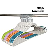 SK&PLUS 20 Pack Clothes Hangers with Non-slip Strip and 360°Swivel Hook, Heavy Duty Large Plastic Hangers for All Clothes Hanging (Off-White)