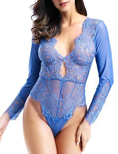 Women Sexy Lingerie Long Sleeve Bodysuit Lace Deep V Bodysuit Lingerie Sheer Teddy Bodysuit Blue Large