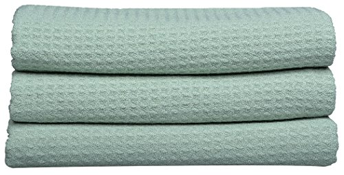 Sinland Microfiber Waffle Weave Kitchen Dish Towels 3 Pack 16 Inch x 32 Inch Light Jade - Winter Dish Towels