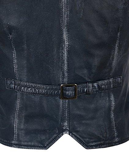 1349 de Vintage los Moda de Vintage de Chaleco Hombres Chaleco Vintage Oscuro Cuero Azul Trabajo xpH0Iw6