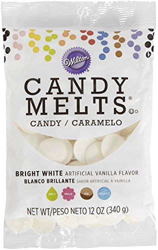 Wilton Candy Melts Flavored 12oz, Bright White, Vanilla Dark Chocolate White Chocolate