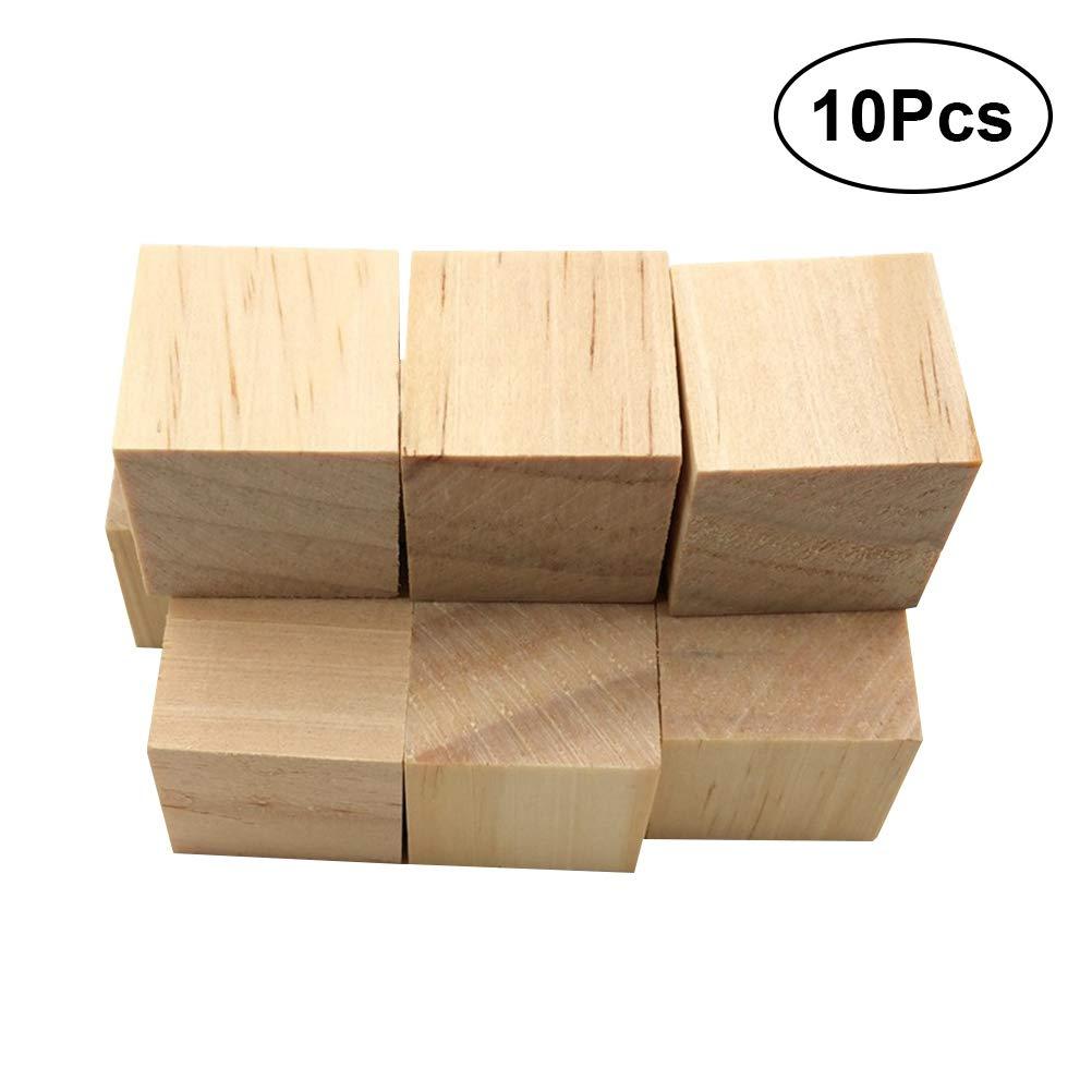 Vosarea 10 Piezas cuadradas de Madera Cubos de Madera artesanales Piezas de Madera Bloques de Madera para artesaní as