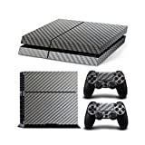 Gam3Gear Vinyl Sticker Pattern Decals Skin for PS4 Console & Controller- Silver Carbon Fiber