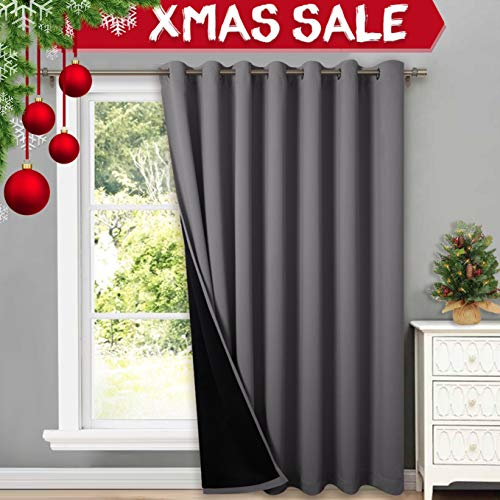 NICETOWN Total Shade Patio Door Curtain, Heavy-Duty Full Light Shading Sliding Door Drape Room Divider Curtain, Vertical Blinds for Window(1 Panels, 100 inches Wide x 84 inches Long, Gray (Patio Window Shades)