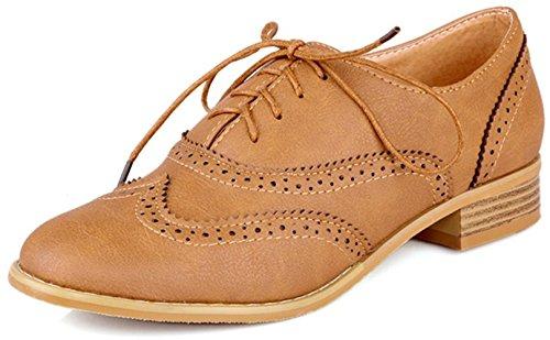 Carving Schuhe Braun oben sich schnüren Damen Leder Wingtip Knöchel Brogue Anlarach Heel Stiefeletten Kleid Low Vintage 08qZWT6