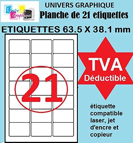 Univers Graphique UGT02 1050 etichette adesive (63.5 x 38.1 mm) –  50 fogli di etichette adesive permanenti 21 compatibile con Montimbreenligne (L7160)