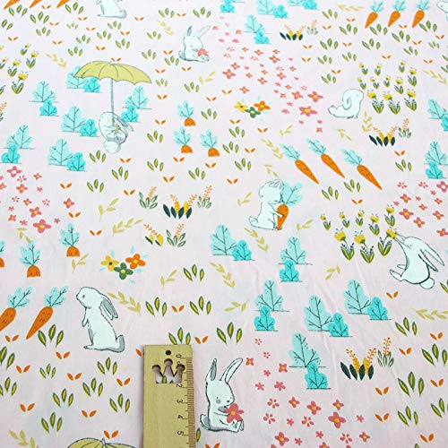 Fabrics 160cm50cm Cotton Cloth Pink Rabbit Carrot Strawberry Cupcake Stars for DIY Crib Bedding Cushion Sewing