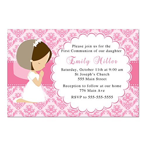 (30 Invitations Personalized First Communion Confirmation Pink Damask Girl Praying Photo Paper)