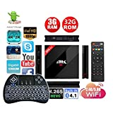 APTC Octa Core 32GB/3GB RAM H96 Pro+ Plus 1080p 4K 3D Android 7.1 Amlogic S912 Dual Wifi 5G Bluetooth 4.1 TV Box+Backlit Wireless Keyboard Remote