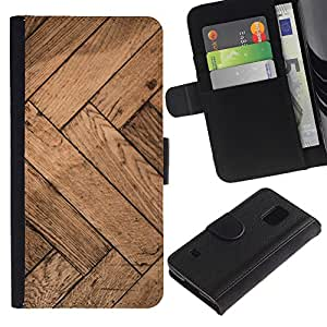 Billetera de Cuero Caso Titular de la tarjeta Carcasa Funda para Samsung Galaxy S5 V SM-G900 / Pattern Chevron Beige / STRONG