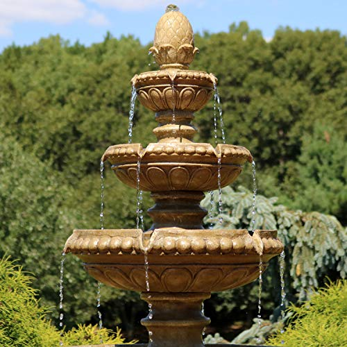 Sunnydaze Large 4-Tier Eggshell Outdoor Water Fountain with LED Lights, 65 Inch Tall, Perfect for Patio or Yard, Submersible Electric Pump Included
