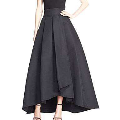 fcc7c3934a1 Wedding Planning Long High Low Satin High Waist Zipper Skirts For Women  Size 2 US Black