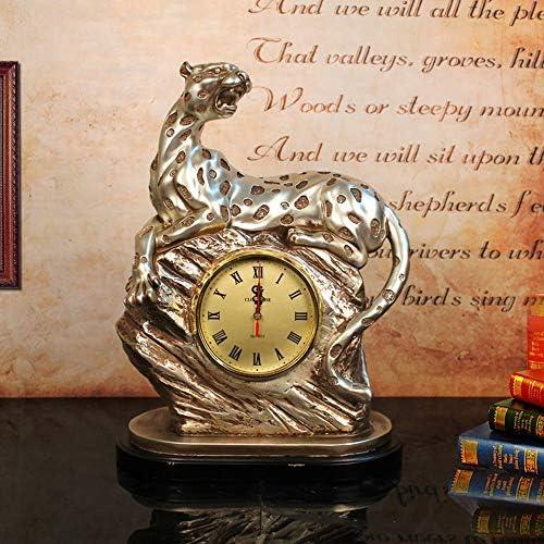 高級樹脂ヒョウ時計ヨーロッパスタイルのホームリビングルームクリエイティブ時計ファッションギフトオフィス時計芸術的装飾品 正確な時間