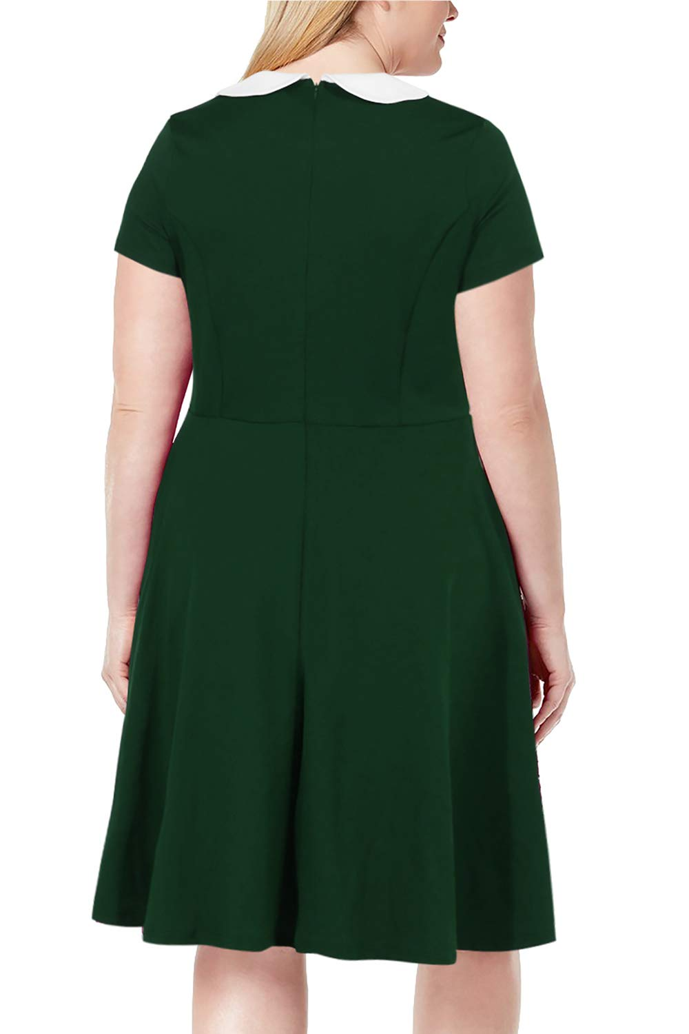 Nemidor Women\'s Peter Pan Collar Fit and Flare Plus Size Skater Party Dress  (Green, 18W)