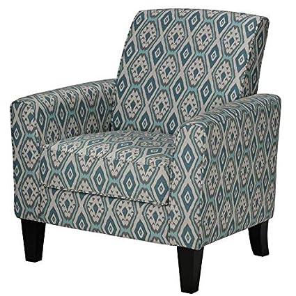 Amazoncom Cortesi Home Tali Blue Diamond Arm Accent Chair Ikat