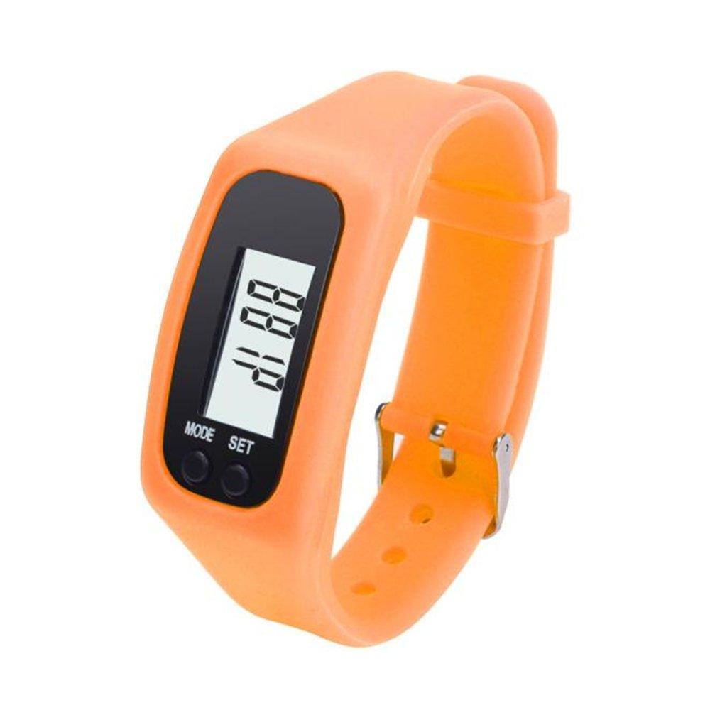Digital LCD Pedometer Run Step Walking Distance Calorie Counter Watch Bracelet Water-resistant Digital Watch for Men Women Bracelet Watch Waterproof Swimming Frozen Sports Watch Boys (Orange)