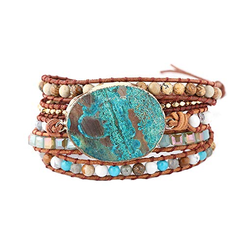 IUNIQUEEN Handmade Mixed Natural Ocean Jasper Stone Druzy 5 Strands Wraps Boho Statement Women Bracelet Collection - Bracelet Beaded Strand Five
