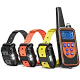 Dog Training Collar, iSPECLE Rechargeable Waterproof Dog Shock Collar Long Remote Range Dog Trainer Collar with Beep Vibrating Shock for Medium Large Dogs, Electronic 3 dog training Collars for 3 Dogs
