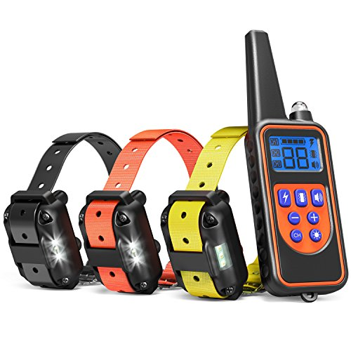 Dog Training Collar, iSPECLE Rechargeable Waterproof Dog Shock Collar Long Remote Range Dog Trainer Collar with Beep Vibrating Shock for Medium Large Dogs, Electronic 3 dog training Collars for 3 Dogs by iSPECLE