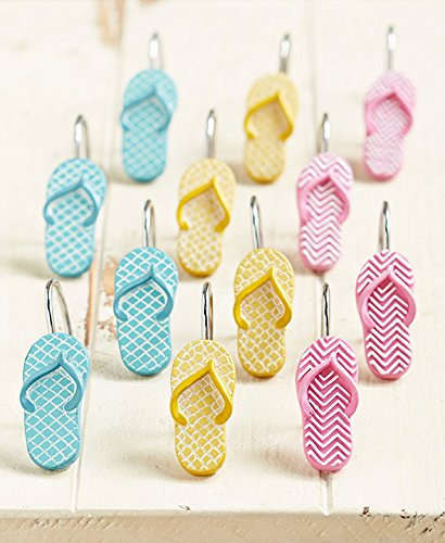 The Lakeside Collection Set of 12 Flip Flop Shower Curtain Hooks by The Lakeside Collection