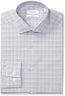 Calvin Klein Men's Dress Shirts Non Iron Slim Fit Stretch Plaid