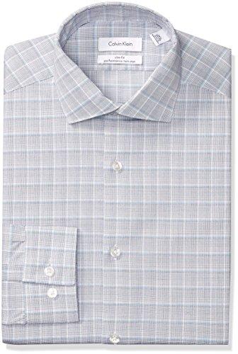 Calvin Klein Men's Dress Shirts Non Iron Slim Fit Stretch Plaid, Blue Bay, 17