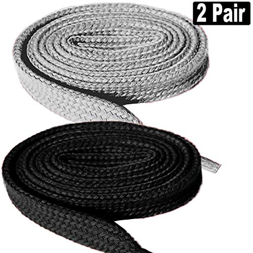 "2 Pair Super Quality Flat Shoe Laces 5/16"" Wide Shoelaces for Athletic Tennis Running Sneakers Shoes Boot Strings -Black+Gray"