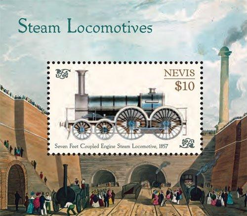 (Nevis Trains, Steam Locomotives Collector's Souvenir Sheet Stamp)