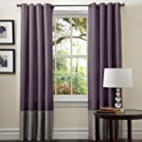 Plum Bedding and Curtain Sets Lush Decor Prima Window Curtain Panel Set (Pair), 54 x 84-inch, Gray/Purple