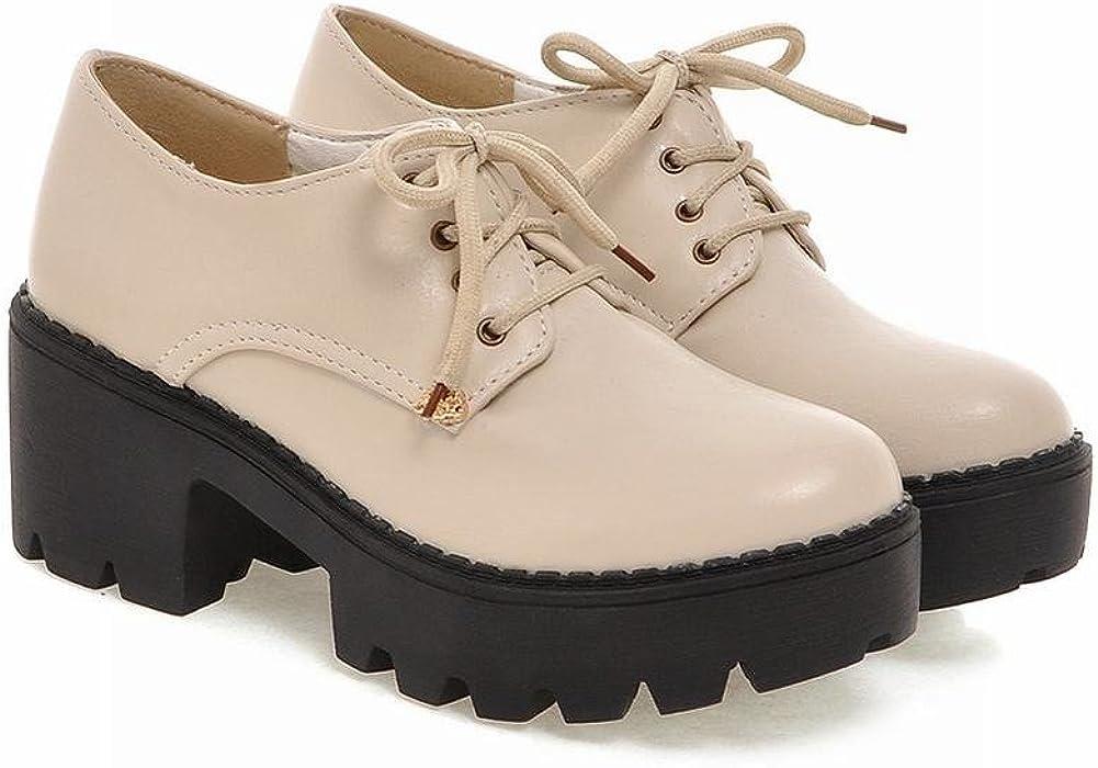 Womens Lady Fashion Brogues Oxford Lace Up Chunky High heel Shoes Sz35-43