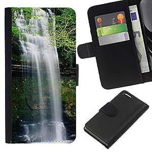 Planetar® Modelo colorido cuero carpeta tirón caso cubierta piel Holster Funda protección Para Apple iPhone 5C ( Waterfall )